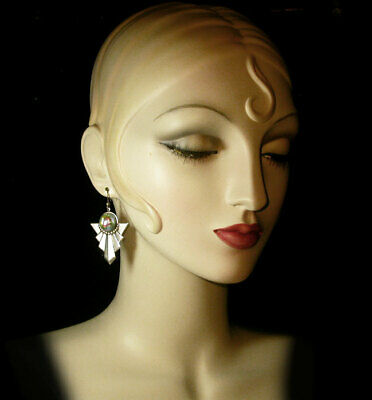 1920s Art Deco Jewelry: Earrings, Necklaces, Brooch, Bracelets ~VTG ART DECO style STEPPED Carnival Bubble GLASS DROP EARRINGS!~~ $24.00 AT vintagedancer.com