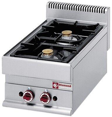 Modular Gasherd Tischgerät 8,6kW 2 Flammen 400x650x280mm Gastlando 8 Flammen-gasherd