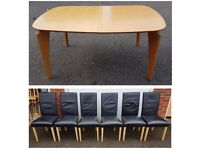 Modern Extending Table & 6 Black REAL Leather Chairs FREE DELIVERY 693