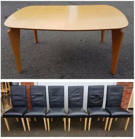Modern Extending Table & 6 Black REAL Leather Chairs FREE DELIVERY 887