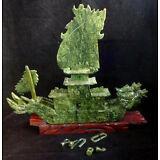 Ancient Chinese Green Jade Carved Dragon Boat Dragons Ship Statue Repair