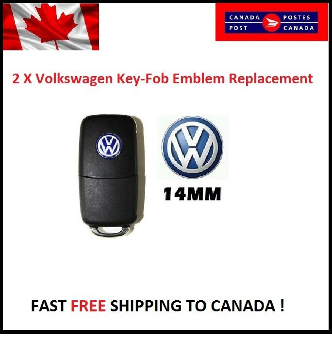 2 x Volkswagen VW Emblem Logo Blue 14mm Key Fob Decal Remote Replacement 2 logos