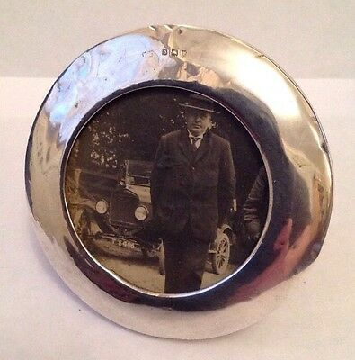 "Antique London 1919 Solid Silver Oval Photo Frame ""old Motorcar in the picture""."
