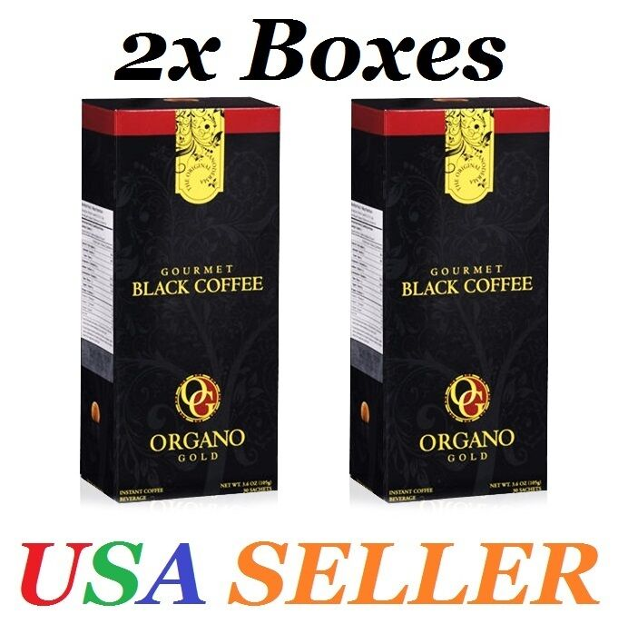 2 Boxes ORGANO GOLD GOURMET BLACK COFFEE- Expire on 07/2022