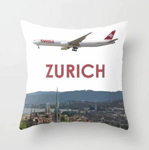 """Swiss Boeing 777 over Zurich Art- Throw Pillow (16"""" x 16"""")"""