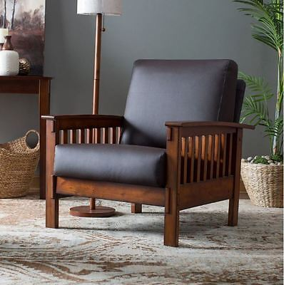 Ministry Style Furniture Chair Accent With Arms Wood Leather Flat Living Reside