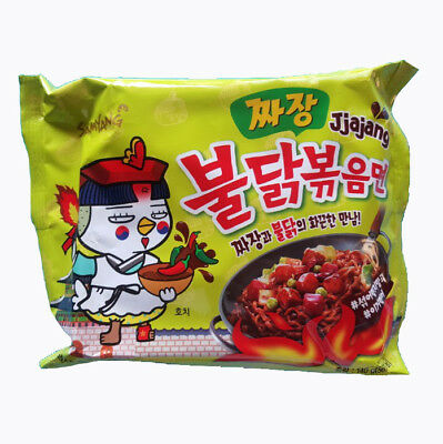 Buldak Bokkeum Myun Hot Spicy Chicken Fire Noodle Challenge JjaJang Myun Edition