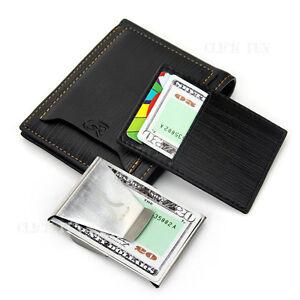 Mens Slim Genuine Leather Wallet Purse Black Card Holder Bifold New + Money Clip