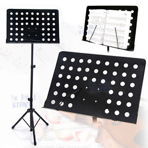 Professional Adjustable Heavy Duty Stage Music Sheet Stand Large Black Folding