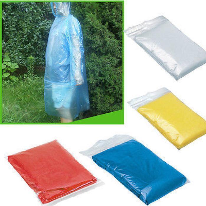 10 PC Disposable Adult Emergency Waterproof Rain l Coat Ponc