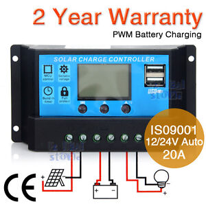 20A 12V-24V LCD Display PWN Solar Panel Regulator Charge Controller Timer & USB