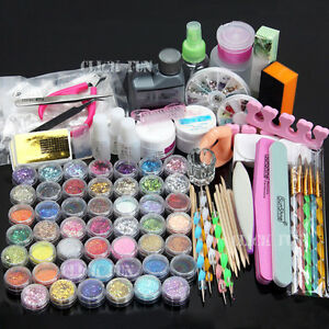 48 Acrylic Powder Liquid Nail Art Care kit UV Gel Glitter Brush Clipper Tips SET