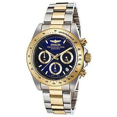 New Invicta Speedway Chrono Two-Tone SS Blue Dial Gold-Tone Bezel Watch