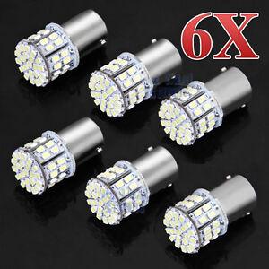6x BA15S 50 SMD LED - BRIGHT WHITE 1156 Brake Reverse Light Bulb Globe Lamp 12v