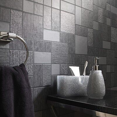 Black Glitter Tile Wallpaper Kitchen and Bathroom Tiling on a Roll 89240