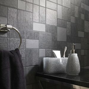 tile on a roll kitchen wallpaper black glitter tile wallpaper kitchen and bathroom tiling 9467
