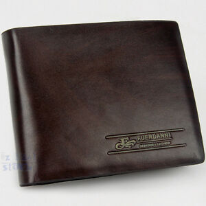 Men's Genuine Leather Wallet Purse Business Credit Card Holder Bifold Brown New