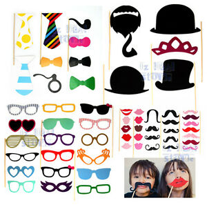 58 Pcs Photo Booth Props Photobooth Wedding Mustaches Party Photography Prop DIY