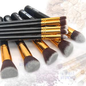 AU POST 10Pcs Professional Cosmetic Makeup Brushes Set Eyeshadow Blush Kit NEW
