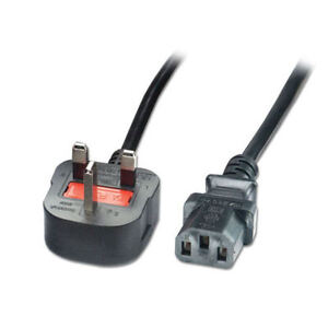 NEW 1.8M - 2M MAINS COMPUTER POWER CABLE PC MONITOR TV KETTLE LEAD PLUG UK 3 PIN