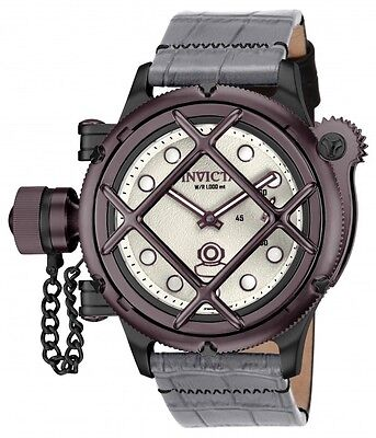 Men's Invicta 16365 Russian Diver Swiss Mechanical Silver Dial Leather Watch