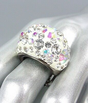 Clear Crystal Cocktail Ring - CHUNKY Sparkle Clear Iridescent Crystals White Oval Dome Stretch Cocktail Ring