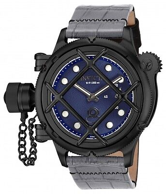 Men's Invicta 16352 Russian Diver Swiss Mechanical Blue Dial Leather Watch