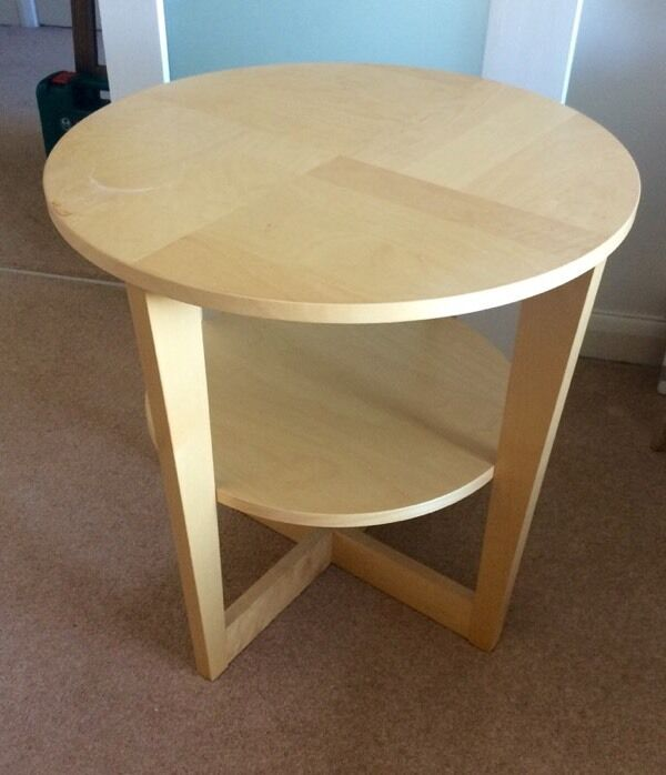 Good IKEA Pine Style Circle Side Table, Magazine Rack Shelf Coffee Round