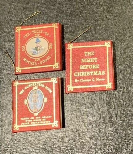 Set of 3 K. ADLER Nutcracker, Mother Goose, Night Before Mini Red Book ORNAMENTS