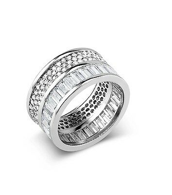 Sterling Silver Baguette+Pave 5A CZ All Around Wide Eternity Band Ring-SS/925