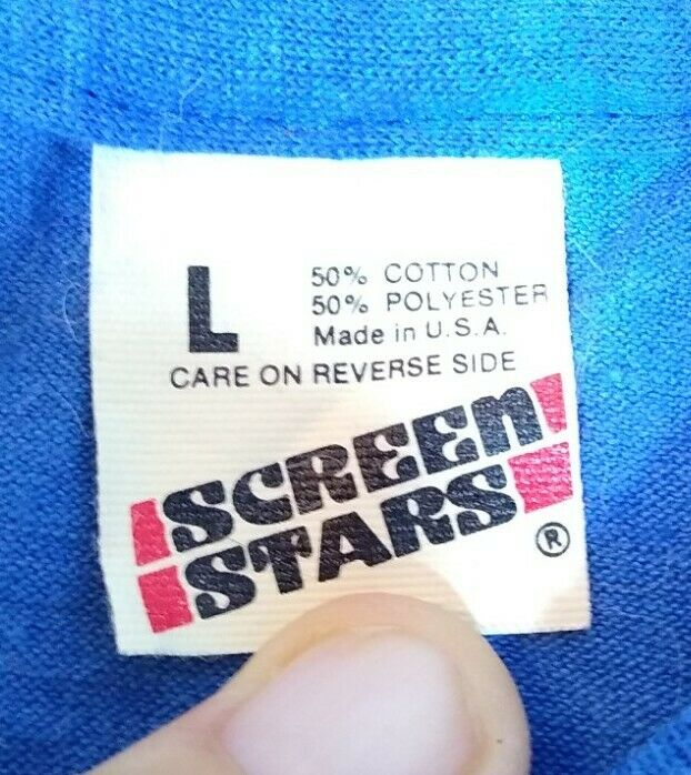 Vintage 80s SCREEN STAR New Blank T-Shirt  L Royal Blue  Single Stitch See Desc.