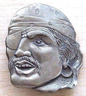 True Vintage LARGE SCARY PIRATE HEAD JACK SPARROW Heavy Pewter Belt Buckle](Jack Sparrow Belt Buckle)