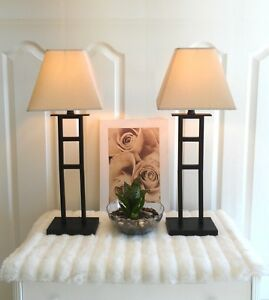 "Gorgeously Modern! 2 Metal Table Lamps, H 27"" (TEXT/CALL Pls)"