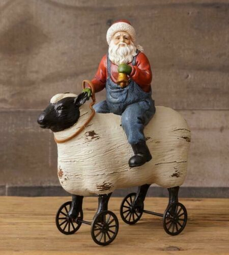 SANTA SHEEP ON WHEELS Primitive Antique Style Farmhouse Figurine Christmas Resin