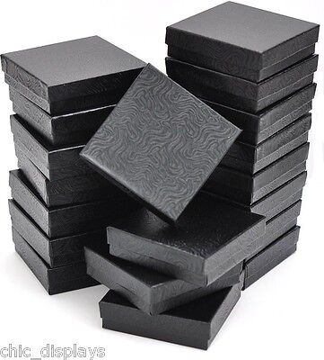 LOT OF 12 BLACK COTTON FILLED BOX JEWELRY GIFT BOXES BRACELET BANGLE BOX 3.5x3.5