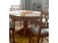 Pine Table and 4 Chairs extends to 5ft seats 6 very good condition £65