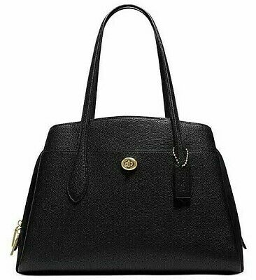 Coach Polished Pebble Leather Lora Carryal Black/Brass Original Packaging