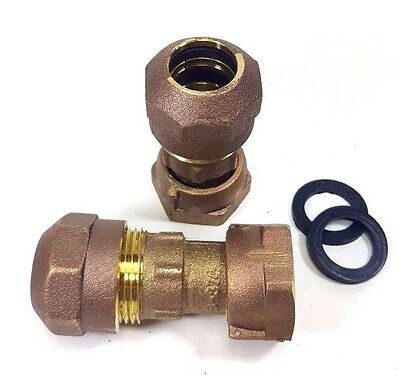 Pair 34 Compression Water Meter Coupling Lead Free Brass Swivel X Cts Compr.