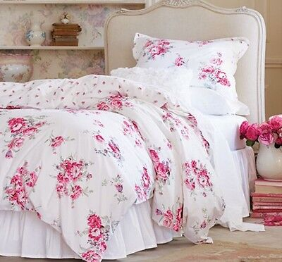 NEW Unreservedly Shabby Chic Sunbleached Floral Duvet Cover Set Full/Queen Rose Pink