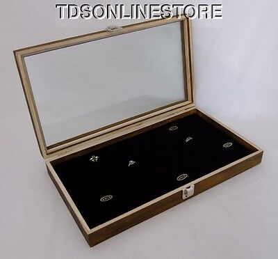 Rustic Antique Brown Color 72 Ring Glass Top Display Case Black Insert