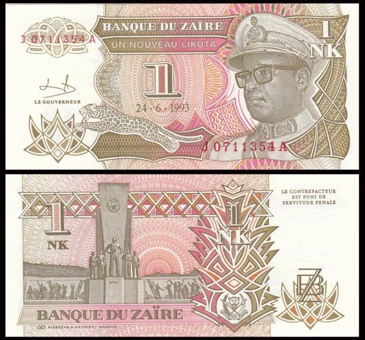 ZAIRE 1 Nouveau Matuka, 1993, P-47, Mobutu/Monument, UNC World Currency
