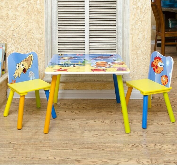 Kids Table and 2 Chairs For Toddler Baby Gift Desk Furniture Cartoon Sniper A+ 3