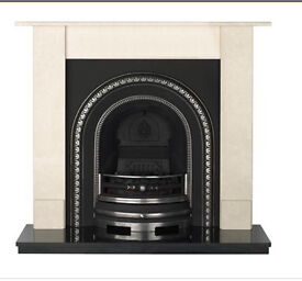 Cast iron fireplace with marble surround and granite hearth