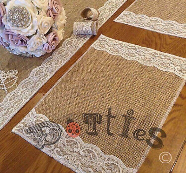 52 Wedding Placemats Hessian & Lace