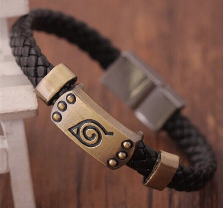 "Naruto Leaf Village Wristband Bracelet Brown Leather Anime 8"" US Seller"