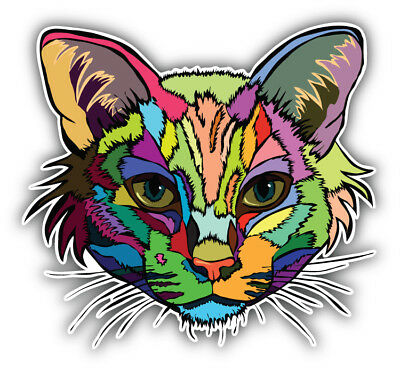 Animal Car (Colorful Cat Head Animal Car Bumper Sticker Decal - 3'' or 5'' )