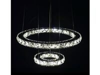 *** CLAXY LED Crystal Chandeliers Chrome Pendant Light 2 Rings Ceiling Light ***