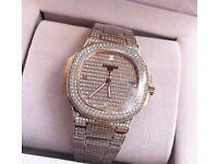 Patek Philippe fully iced out with box diamond Swiss ETA audemars piguet Rolex watch
