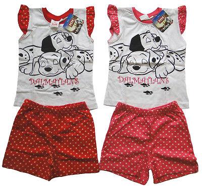 Mädchen kurzarm Pyjama Hund Kinder Schlafanzug 101 Dalmatiner Disney Kind Shorty ()