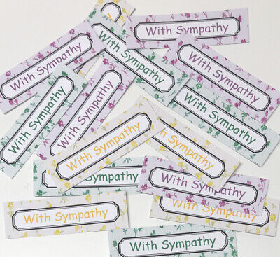 12 WITH SYMPATHY Sentiments/Banners Hand Made Card Toppers DELICATE FLOWERS 6cm